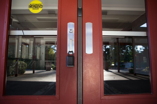Locked doors to a secure vestibule at Palisades Elementary School in Lake Oswego, Oregon.
