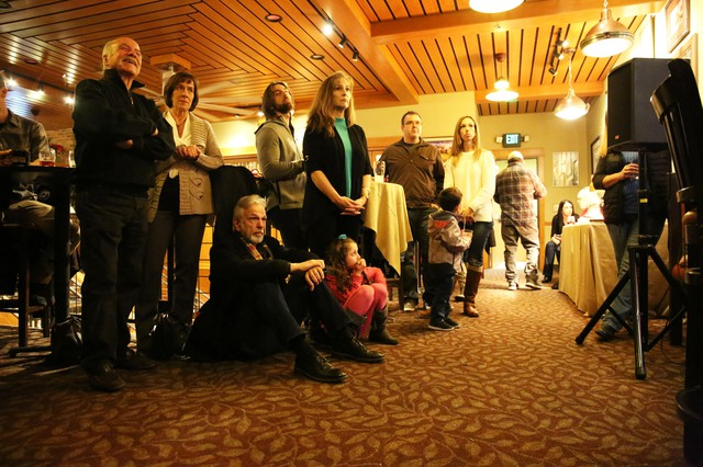 A crowd listens to Josh Horner's story at a fundraiser for the Oregon Innocence Project in Bend on Dec. 6, 2018.