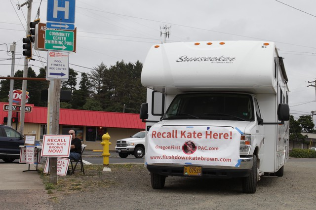 """Michael Cross, leader of the """"Flush Down Kate Brown"""" campaign, traveled the state in a rented RV earlier this year."""