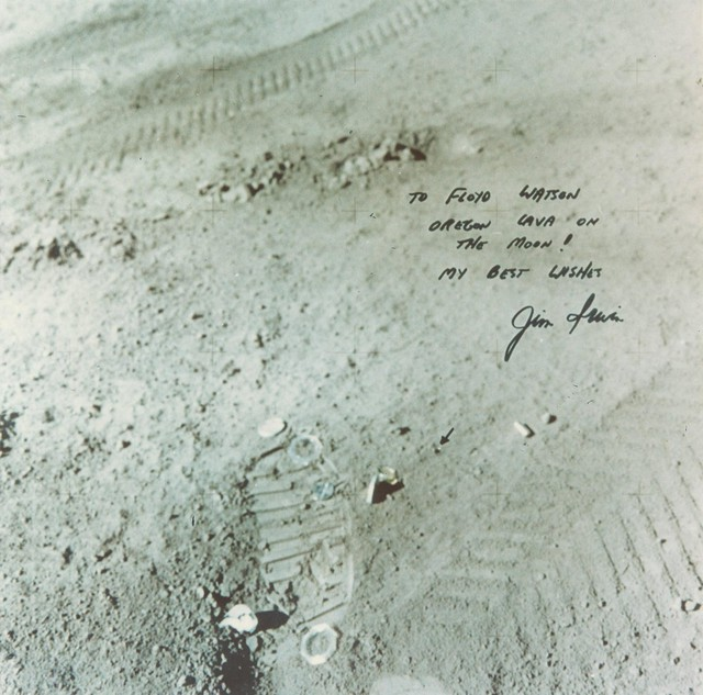 After Floyd Watson asked astronaut James Irwin to take a rock from Central Oregon to the moon, Irwin sent back thisautographed photo.