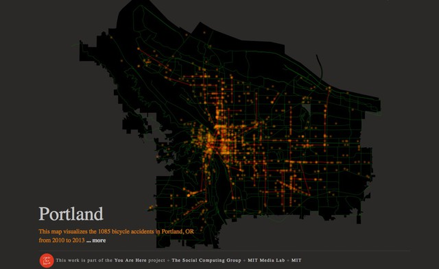 """The Portland bike accident map is part of the MIT """"You Are Here"""" project."""