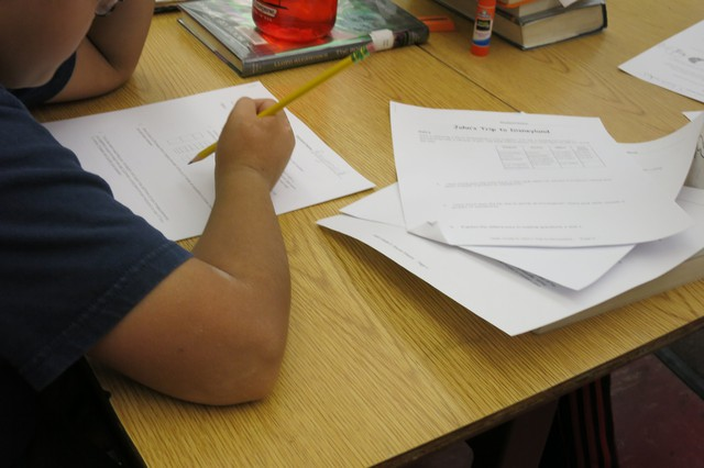 Students at Abernethy Elementary who opted out of standardized tests were given other work to do. In this 5th grade classroom, they're doing math worksheets.