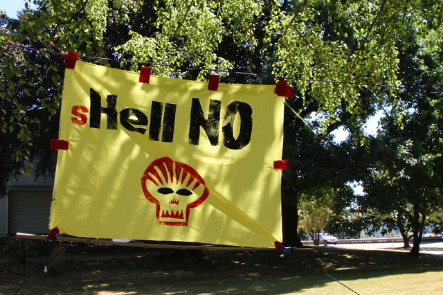 A sign protesting Royal Dutch Shell's oil exploration in the Arctic.