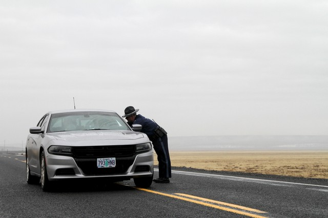 State police at a roadblock near the Malheur National Wildlife Refuge.