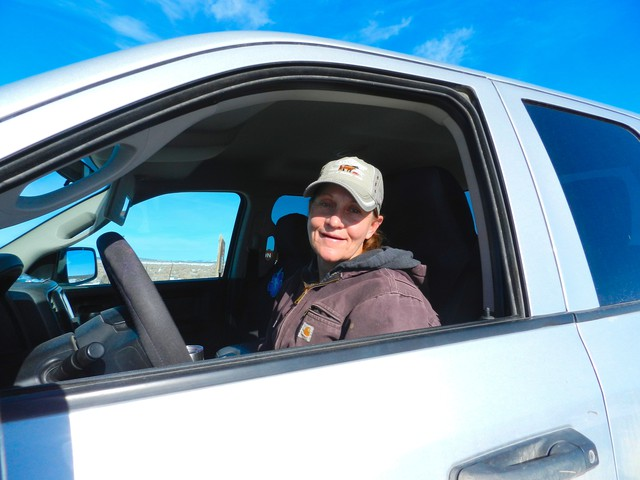 Angie Ketscher, of the Ketscher Cattle Co. in Burns, Oregon, drives across her ranch and the federal land where she has a permit to graze part of the year. Ketscher moved to her Harney County ranch more than 20 years ago.