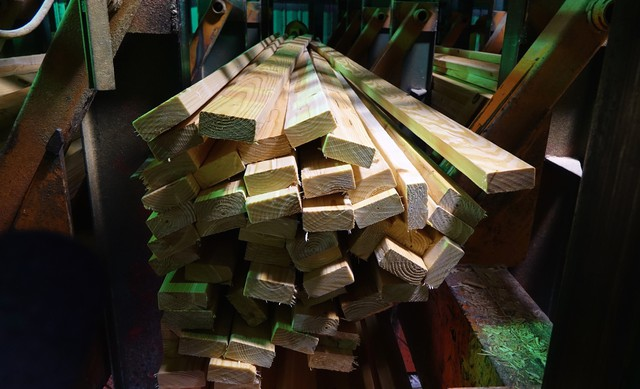 Lumber is automatically sorted at the Swanson Mill in Glendale, Oregon.