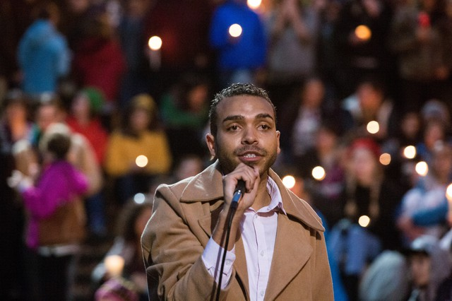 Portland Resistance front man Gregory McKelvey addresses a crowd of supporters Sunday at a rally on the Portland Waterfront.