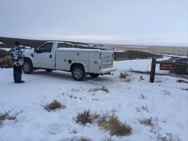 The militiamen have blocked the entrance to the headquarters of the Malheur National Wildlife Refuge with vehicles.