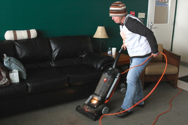 """""""I was always taught that cleanliness is next to Godliness,"""" says Kristi Jernigan. She says the women sweep and mop the refuge bunkhouse twice daily."""