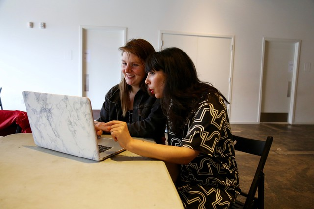Portland artist Taryn Tomasello and Roya Amirsoleymani, PICA's directory of community engagement, learn how to edit and create Wikipedia entries.