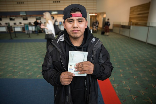 """""""I paid my plane ticket to leave voluntarily, but I am thinking to come back in four years, after Donald Trump leaves office,"""" said Ignacio García-Pablo, 21, of Guatemala."""
