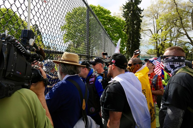 The March For Free Speech rally began at Montavilla City Park and continued down 82nd Avenue in East Portland.