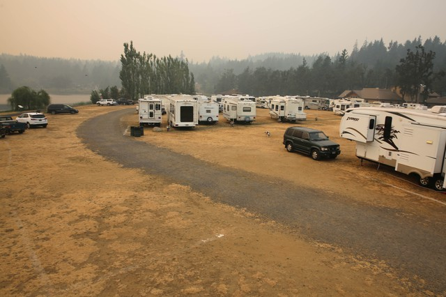 An emergency shelter in Stevenson, Washington, for evacuees of Columbia River Gorge fires.