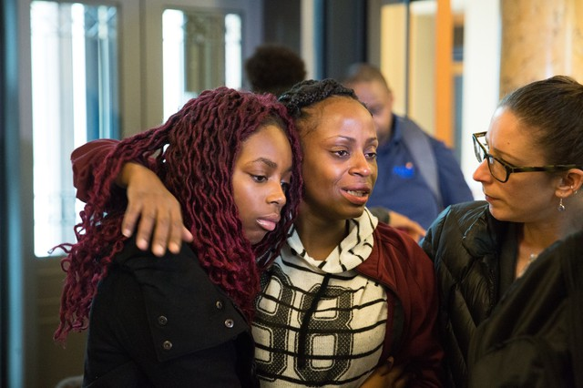 Venus Hayes speaks to media outside the Portland mayor's office Thursday, Feb. 8, 2018. Hayes delivered notice of intent to sue the city and the Portland Police Bureau over the 2017 fatal police shooting of her 17-year-old son, Quanice Hayes.