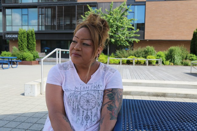 """Rachel Macy witnessed the knife attack on a Portland MAX train. """"Every time I have to take public transportation, just walking down the street, I realize I don't want to be noticed."""""""