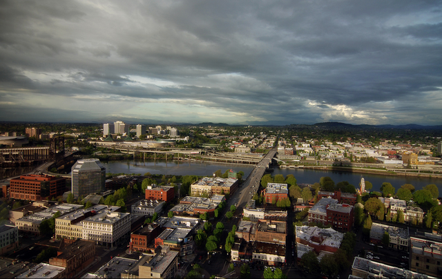 Ominous skies roll over Downtown Portland.