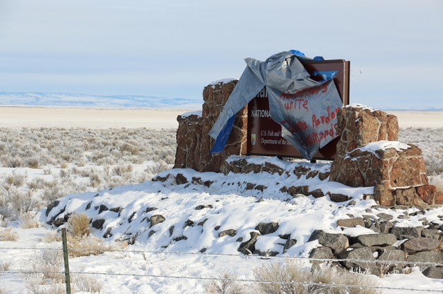 Those who wanted the armed militants to leave Eastern Oregon's Malheur National Wildlife Refuge near Burns, Oregon, kept ripping down a sign the occupiers put up, in January.