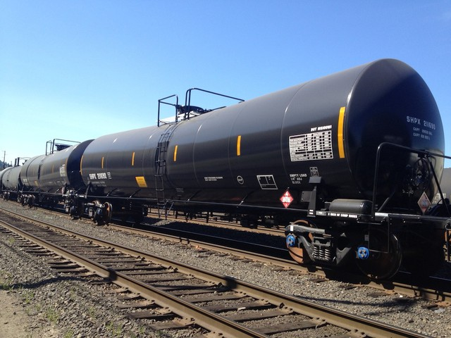 File photo of oil train tankers in a Portland railyard.