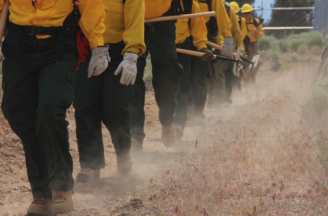 A crew of wildland firefighters practices walking in a line during guard school in this August 2015 photo.