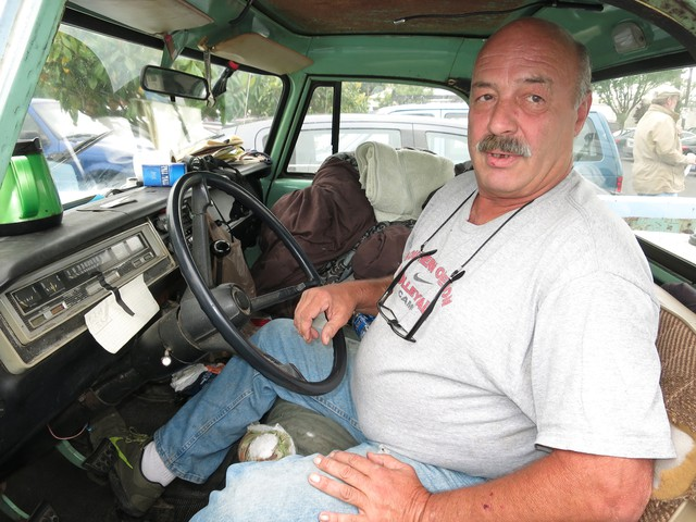 John lives in his truck and takes heroin to deal with his chronic pain.