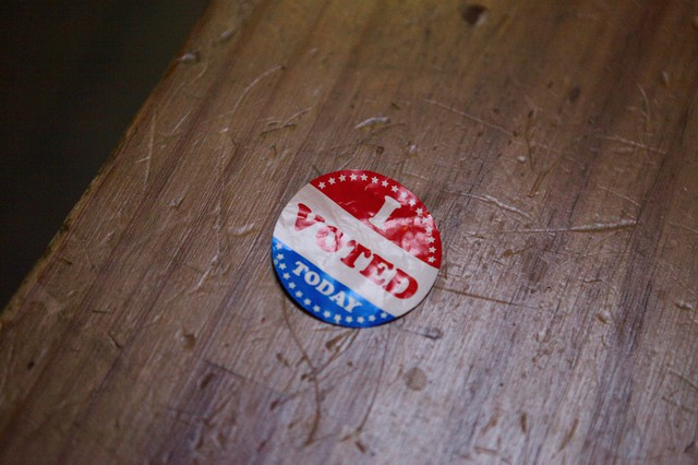 """An """"I Voted"""" sticker from the May 17 Oregon primary election."""