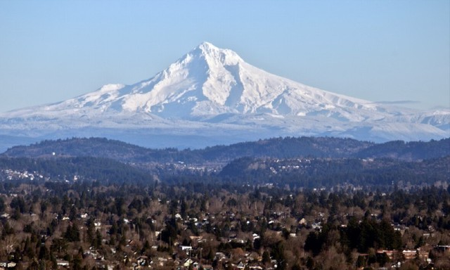 Mt. Hood on a sunny day from Portland.