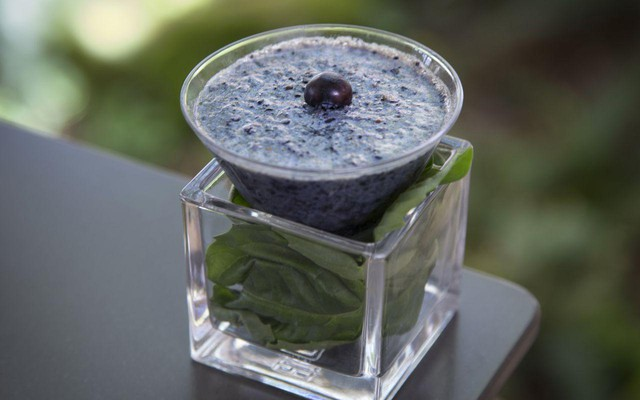 This smoothie was made with almond milk instead of the higher-carbon dairy milk from cows. Almond growers are expected to see an increase in their yield because of climate change. It also includes frozen domestic blueberries from last season, so it didn't require fresh berries to be flown in from South America.