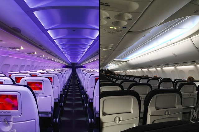 The different interiors of Virgin America (left) and Alaska Airlines (right) are striking. A potential takeover of Virgin by Alaska would require Alaska to evaluate the different interiors, integrate any changes (or not), or come up with something new entirely.