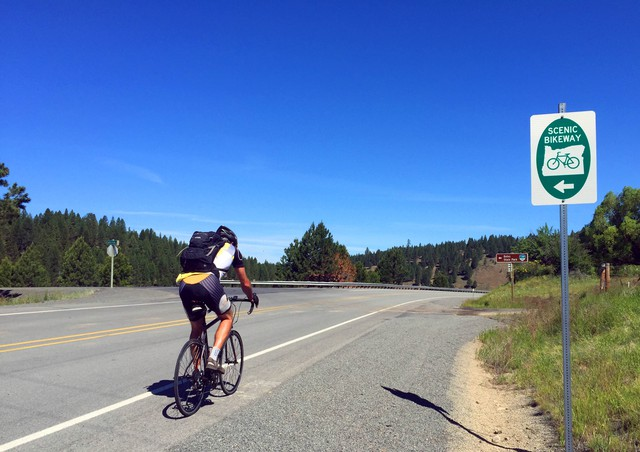 Official scenic bikeways in Oregon are marked with signs. The program is funded by state lottery dollars.