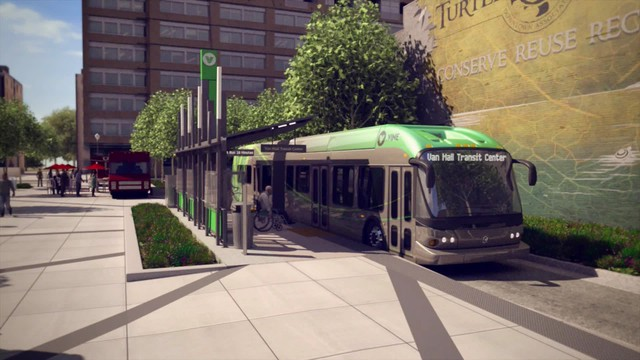 """An artist's rendering of Vancouver, Washington's first rapid transit bus, """"The Vine."""""""