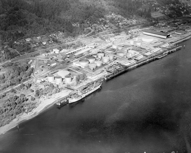 Aerial view of Linnton tank farm on the Willamette River, Portland, Oregon, November 23, 1945.