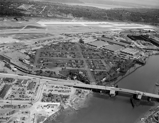 A historical aerial shot of Plant 2 — which Boeing disguised to protect it from being bombed — on the Duwamish River in South Seattle. The lasting legacy of the B-17 bomber is a complicated one — the Nazis were defeated, but the Duwamish is so polluted that its fish can't be eaten.