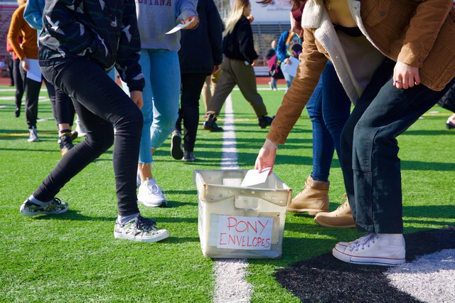 Lincoln students drop letters addressed to the survivors of the Parkland, Florida, high school shooting.
