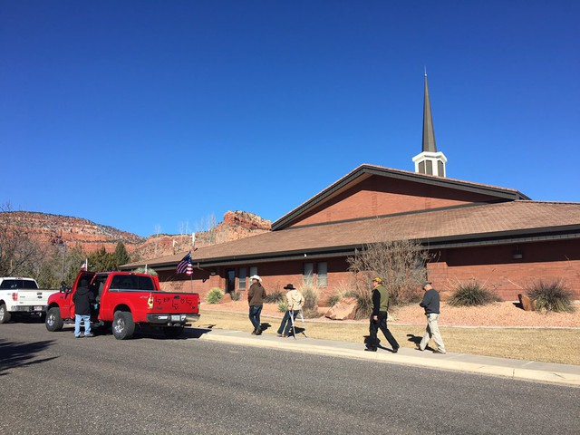 Mourners gather outside the LDS stake in Kanab, Utah, for LaVoy Finicum's funeral.