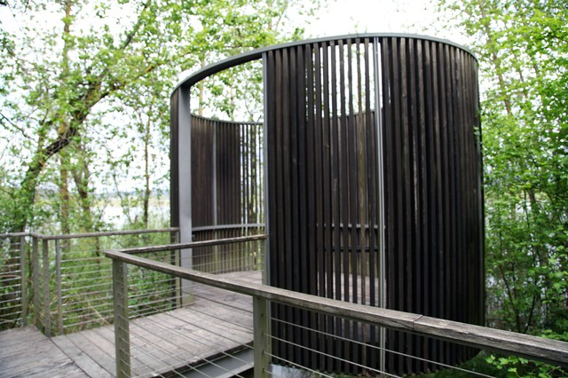 Constructed in 2008, Maya Lin's Bird Blind lies tucked away in the Sandy River Delta. It's one of five completed installations by the Confluence Project.