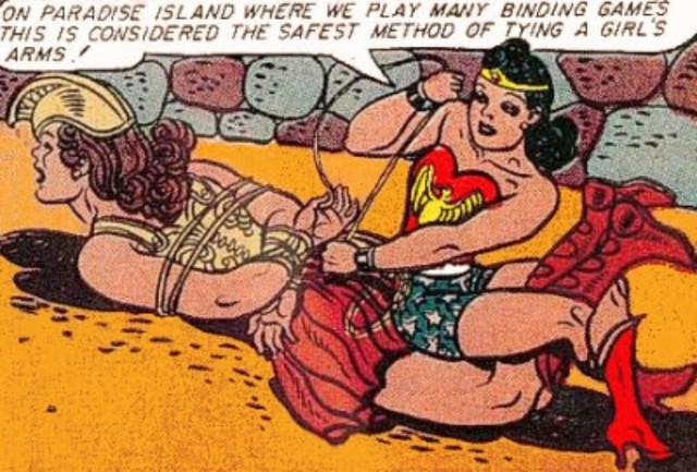 An example of an early Wonder Woman panel incorporating William Moulton Marston's ideas about dominance and submission.
