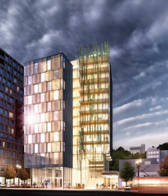LEVER Architecture's rendering shows what will be the first wooden highrise in the United States. It's planned for Portland's Pearl District.