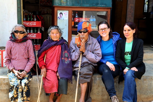 "Irene Taylor Brodsky on site in Nepal, where she filmed her new documentary ""Open Your Eyes."""