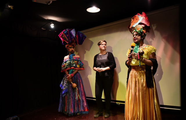 Genevive Roundané (center) with two chunta dancers from her documentary Las Chuntas about the Fiesta Grande in Chiapa de Corzo, Mexico.
