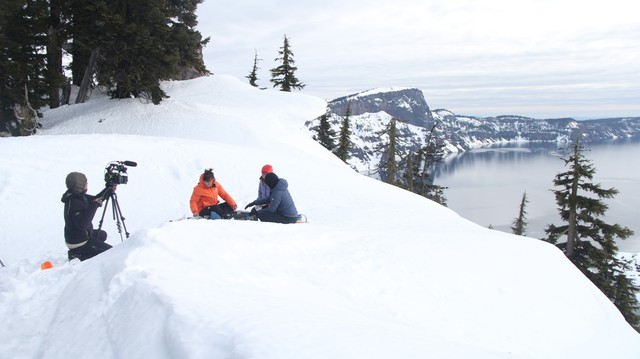 """""""Oregon Field Guide"""" filming on location in Crater Lake National Park."""