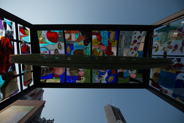 Jessica Jackson Hutchins's brightly colored glass panels fill a decommissioned TriMet bus stop.