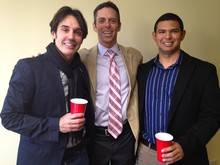 Cesar Higgins, right, of Colombia, is one of the first people in Oregon to receive permanent residency through a same-sex spouse. Here he celebrates with his husband, Valerium Pereira, left, and attorney Stephen Manning.
