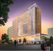 An artist's rendering of the proposed Hyatt at the Oregon Convention Center.