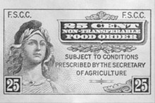 The first food stamp program technically began in 1939, with stamps that looked like this.