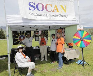 Southern Oregon Climate Action Now's Kathy Conway is at one of Rogue Valley's Earth Day events, where they educate people about climate action.
