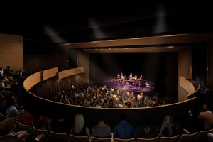 An architectural rendering of a proposed 550-seat performance space inside Beaverton's planned Patricia Reser Center for the Arts.
