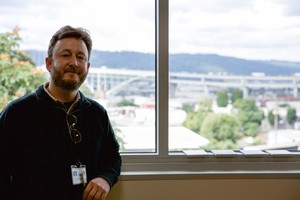 Paul Bubl teaches science at Harriet Tubman Middle School in Portland. His room has a view of the Fremont Bridge and Forest Park — and Interstate 5, if you look down.