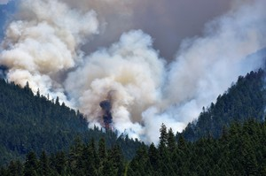 Smoke from the Miles Fire in Southern Oregon is pictured on Saturday, July 21, 2018.