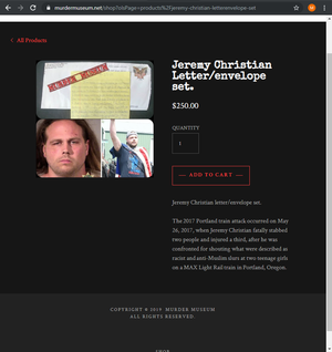 A screenshot of Jeremy Christian's letter on the Murder Museum website on Friday, Nov. 22, 2019.