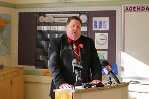 Joe Larson pushes back against a proposed budget during a press conference with the Oregon Education Association.